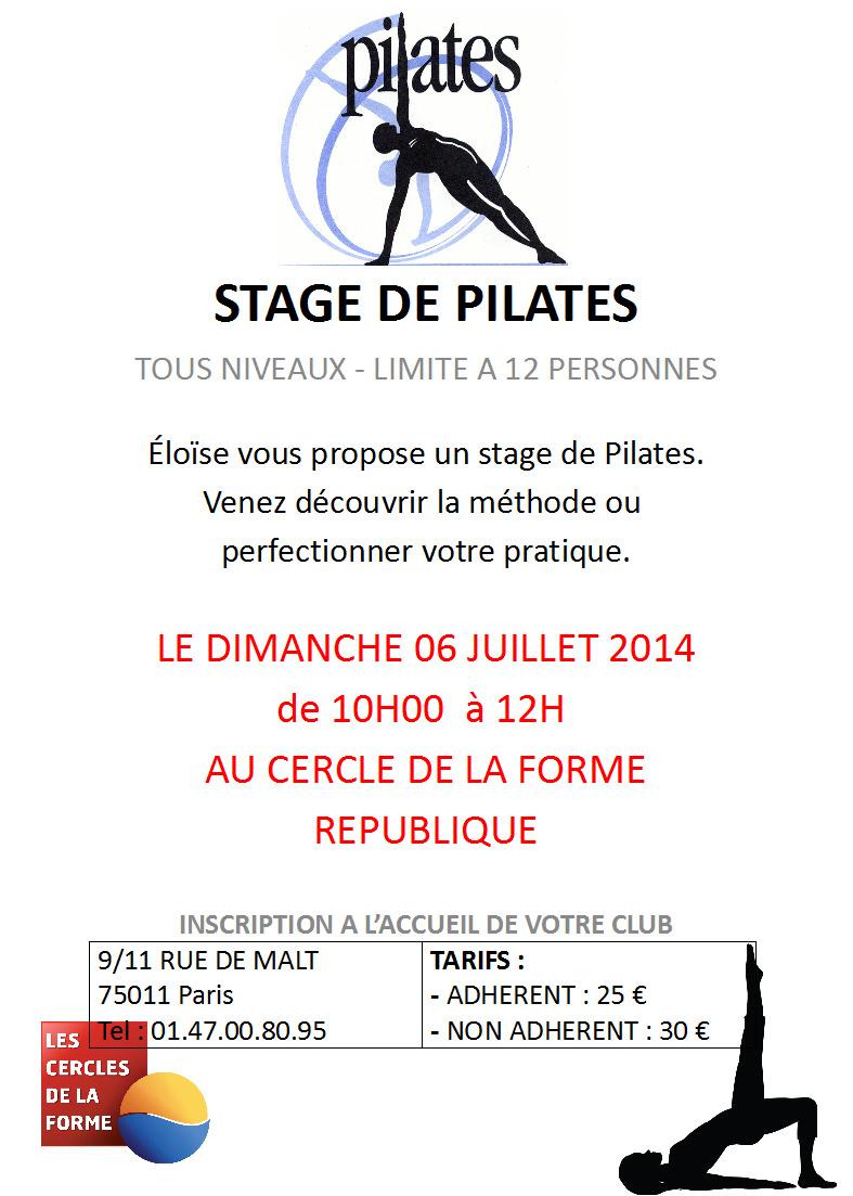 Stage de Pilates le Dimanche 6 Juillet 2014 Cercle République